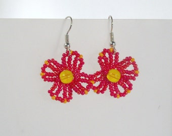 Red Flower Earrings with Orange Accents and Yellow Centers