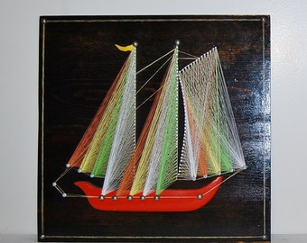 Vintage Sailboat String Art on Wood Retro