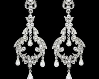 Chandelier bridal earrings crystal bridal vintage style 1940s LONG Art Deco navette crystal bridal earrings wedding jewellery