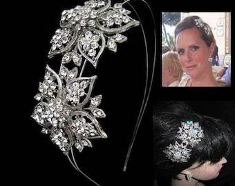 Crystal Wedding headband Art Deco style crystal floral star vintage style wedding bridal silver bridal hair accessories