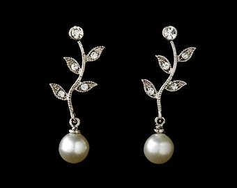 Pearl leaf wedding earrings bridal vintage inspired Art Deco 1920s/30s style pearl crystal drop wedding earrings silver wedding jewelry