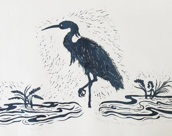 River Song, linoleum block print, hand printed and signed in pencil by Lagana.