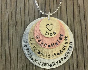Custom hand stamped pendant- 4-stack silver, copper and brass- mommy jewelry poem personalized necklace