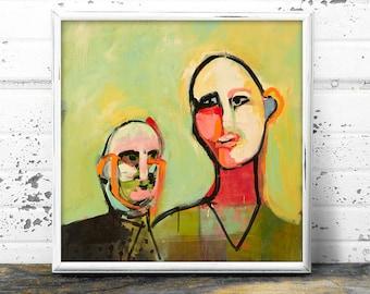 Portrait Art Print, Abstract Modern Art, Abstract Wall Art, Face Art of Two Figures