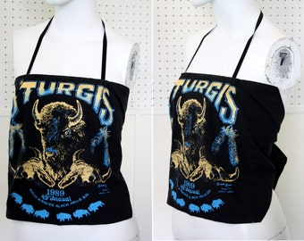1989 Vintage Sturgis Black Yellow and Blue Cloth Halter Top By Tom's Tees in Main Street Sturgis South Dakota