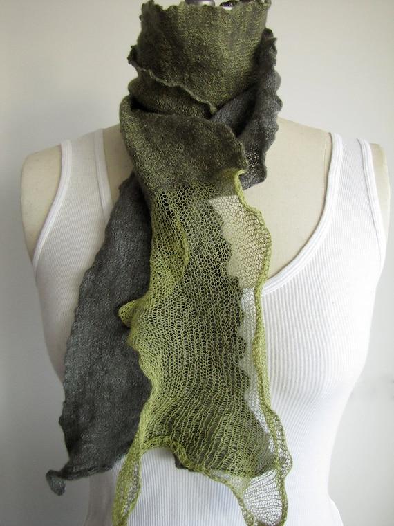 Merino, silk & stainless steel felted scarf - tea green