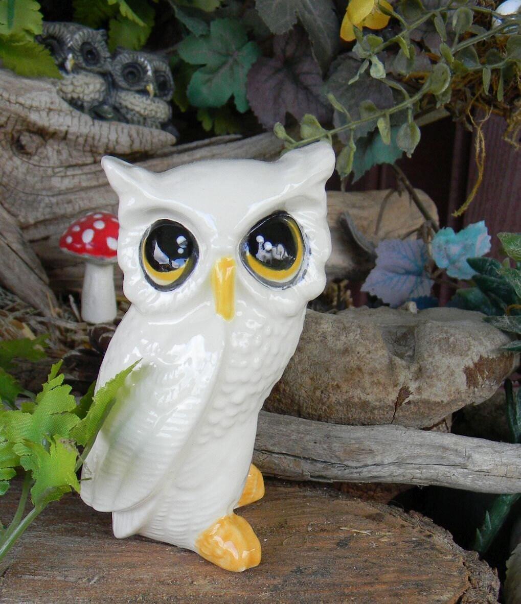 White Ceramic Barn Owl Figurine Woodland By