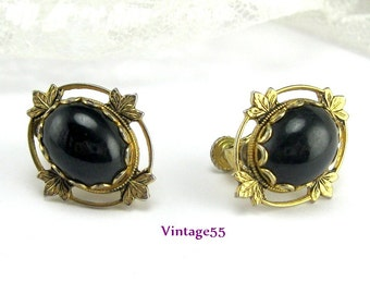 Earrings Victorian Revival Gold tone screw back