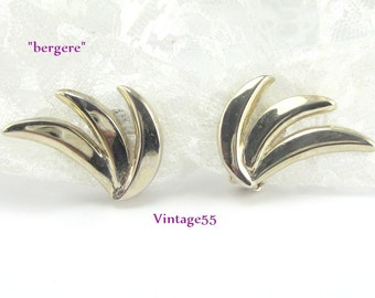 Earrings Gold tone clip on signed Bergere