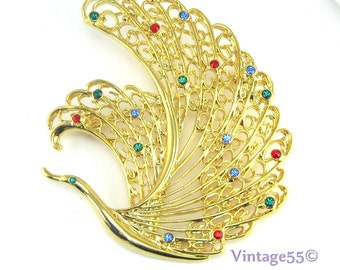 Bird Brooch Rhinestone Gold tone Filigree