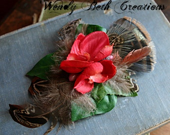 Wild Heart Hair Clip Fascinator - Cruelty Free Feather, Natural Fall Feather, Vegan, Orchid, Belly Dance, Red