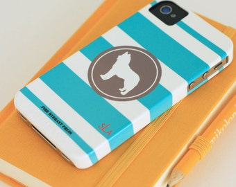Dog Silhouette Phone Case -  Custom Striped Phone Case - iPhone - Samsung Galaxy - Dog Breed - You Design