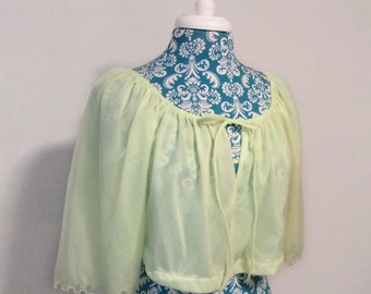 Vintage 1960s bed jacket // pullover crop pj top neon green chiffon 60s