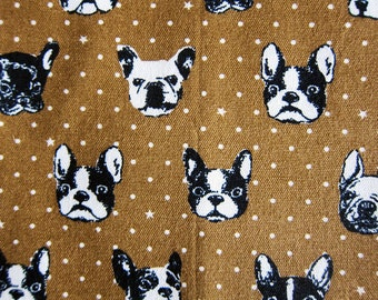 Japanese Fabric Oxford Cotton - French Bulldog Fabric in Brown - Fat Quarter - Kokka Fabric from Japan