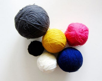 Destash Sale - Lot of 6 Balls of Yarn - Cotton in Gray Pink Yellow Navy Blue White Black