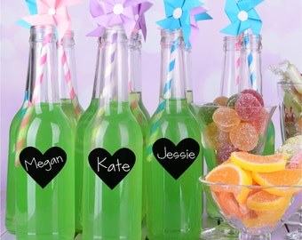 Set of 100-300 Self Adhesive Chalkboard Hearts for labeling drinks at a party wedding or other event can use chalk pens on them vinyl decals