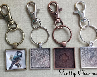 50 Pendant Tray Key Chain Kits - 1 Inch Square Pendant Trays, Glass Cabochons and Lobster Clasp Key Chain - Choice of Colors