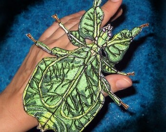 Walking Leaf Insect Iron on or Sew Patch Applique Bug Patch Phyllium giganteum