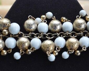 "Pretty Vintage Gold tone, White Beaded Dangle Bracelet. 7-1/2""  (F3)"