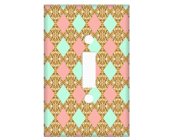 Mint Coral Gold Switchplate Cover  - Diamonds Switchplate - Light Switch Cover - Rocker Cover - Bedroom Decor