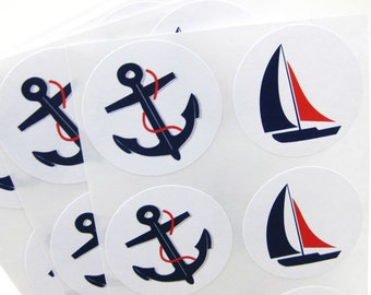 Nautical Anchor Stickers, Boat Stickers  1.5 inch Round Seals (Set of 30)