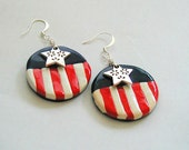 Patriotic Stars & Stripes Polymer Clay Earrings ~4th of July Earrings~Patriotic Earrings~Dangle Earrings~USA Earrings~Polymer Clay Earrings