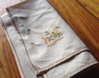 Eight embroidered linen cloth napkins