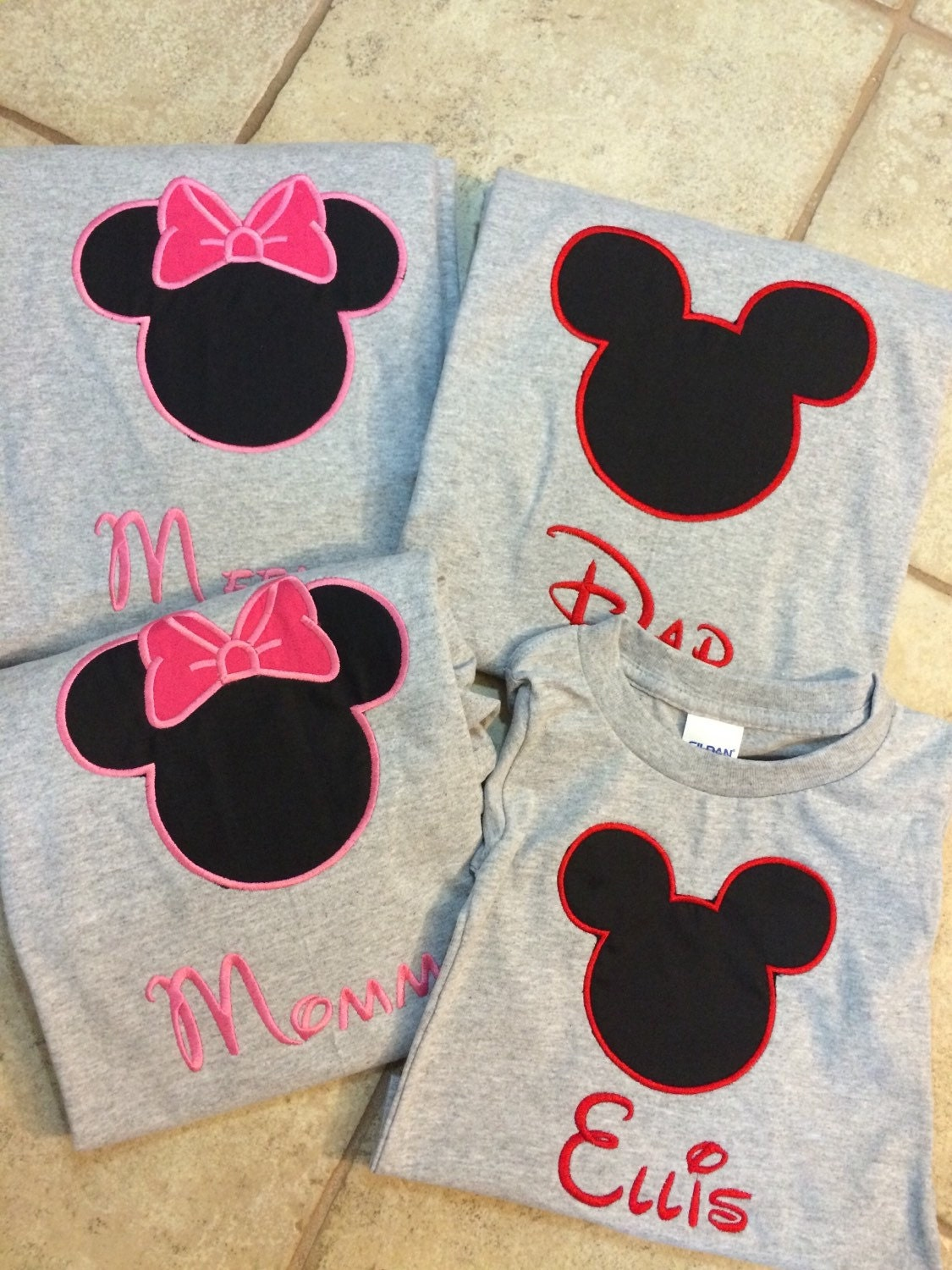Custom Made Minnie Or Mickey Mouse T Shirts Embroidered With