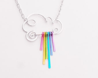 Rain Cloud Necklace - Choose Rainbow or Raindrops or all Silver Wizard of Oz Rainbow Dash MLP Portland Seattle