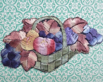 Vintage Applique 1920s 1930s Sew On Fabric Applique Trim Basket of Fruit Motif 20s 30s Art Deco brown green purple