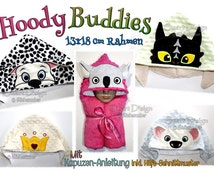 "Hoody Buddy Set 5x Designs Applique 13x18cm 5x7"" Hooded Towel Embroidery Design Stickdatei"