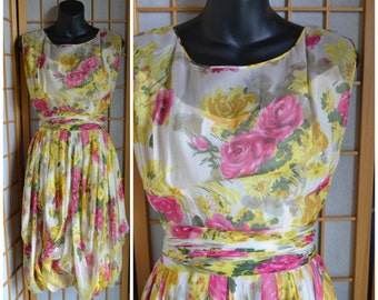 50s silk floral garden party dress womens size xsmall / small