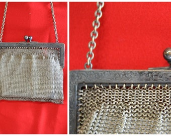 20s german silver mesh flapper handbag