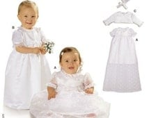 CHRISTENING GOWN PATTERN / Baptism - Dedication Dress - Bolero - Bonnet / Baby Girl
