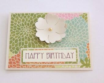 Beige Floral Birthday Card