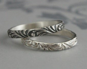 Women's Silver Wedding Band--Florence Flourish Patterned Ring--Vintage Style Wedding Ring--Swirl Patterned Band--Silver Flourish Band