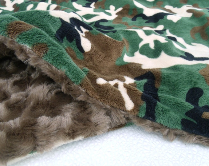 Green and Brown Camouflage Minky Dot Baby Blanket, available in three sizes Can Be Personalized