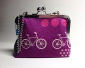 Kisslock Clutch Purse - Medium - Purple Bicycles