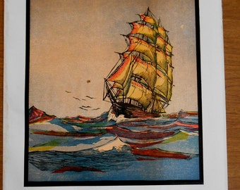 Clipper Ship print 1936 color wood engraving,- John Bertram, 1930s sailing ship, nautical print, wall art