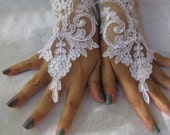 Bridal Wrist Cuffs,  Lace Gloves