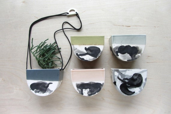 Small Half Moon Splatter Hanging Planter - Made to Order