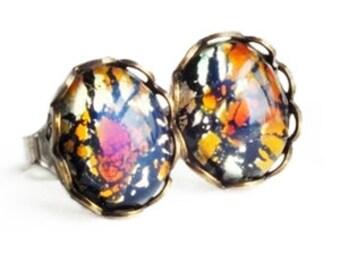 Black Opal Studs Vintage Glass Harlequin Fire Opal Post Earrings Hypoallergenic Rainbow Opal Earrings Romantic Gift For Her