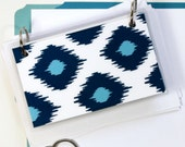 3 x 5 Index Card or Note Card Binder, Blue Ikat