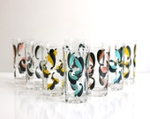 Mid Century Modern Colorful Abstract Leaf Pattern Tumblers