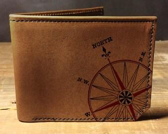wallet - leather wallet - mens wallet - mens leather wallet - Compass wallet - 0015