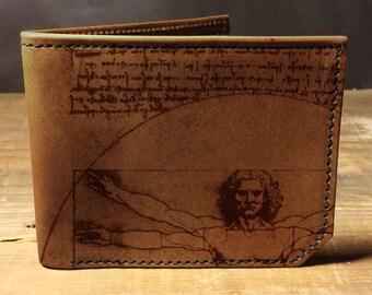 wallet - leather wallet - mens wallet - Vitruvian man wallet - 023