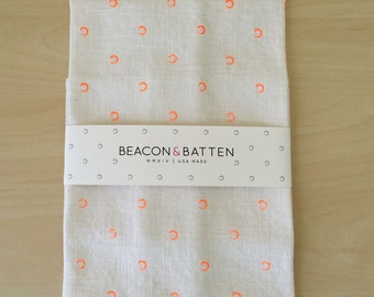 SALE * Circle Towel : White with Neon Orange