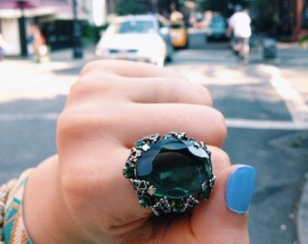 Vintage Glass Ring, 1950s German Glass Jewelry, Peridot & Emerald Glass and Silver Ring Signed Western Germany, Vintage 1950s Statement Ring