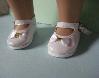 American Girl Shoes White Mary Jane Patent with Gold Accents for Eighteen Inch Dolls