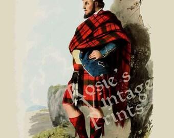 Clan MacDonald - Scottish Highlander ~ Traditional Tartan and Arms ~ ca 1845 Giclee print - Clan MacDonald Poster - Genealogy Poster